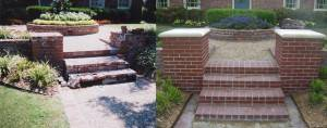 Masonry repair steps and coulmns