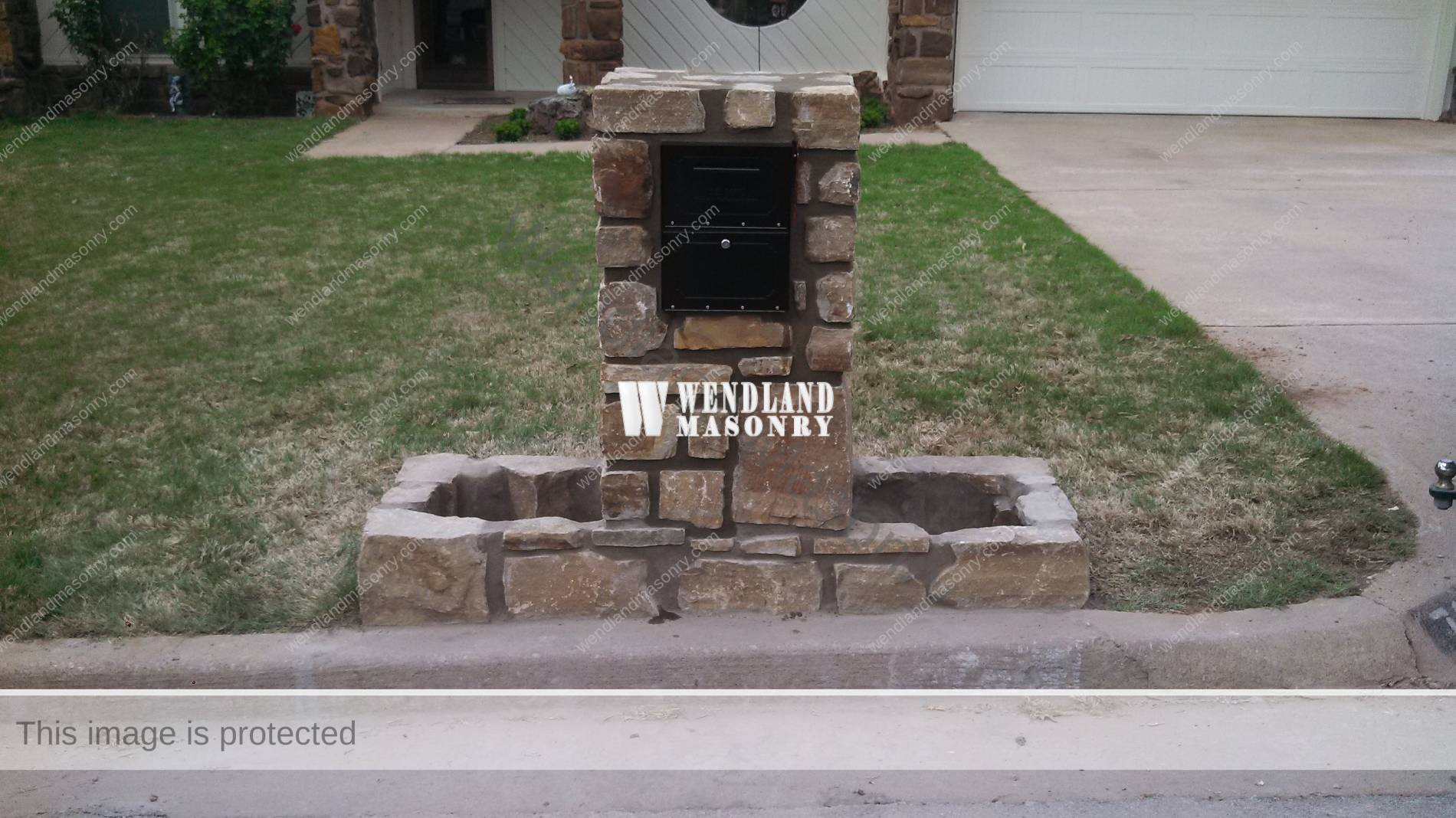 stone mailbox. Stone Mailbox. Sandstone With Planters Mailbox D