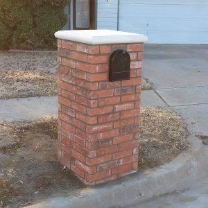 straight brick with cast stone cap