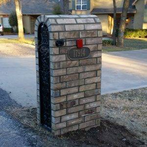 Iron security mail kit with brick surround