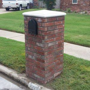 Masonry straight brick work with cast stone cap