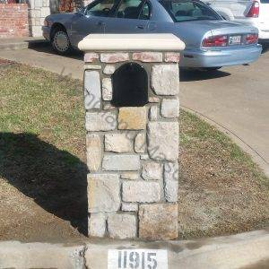 Stone with cast stone and brick cap